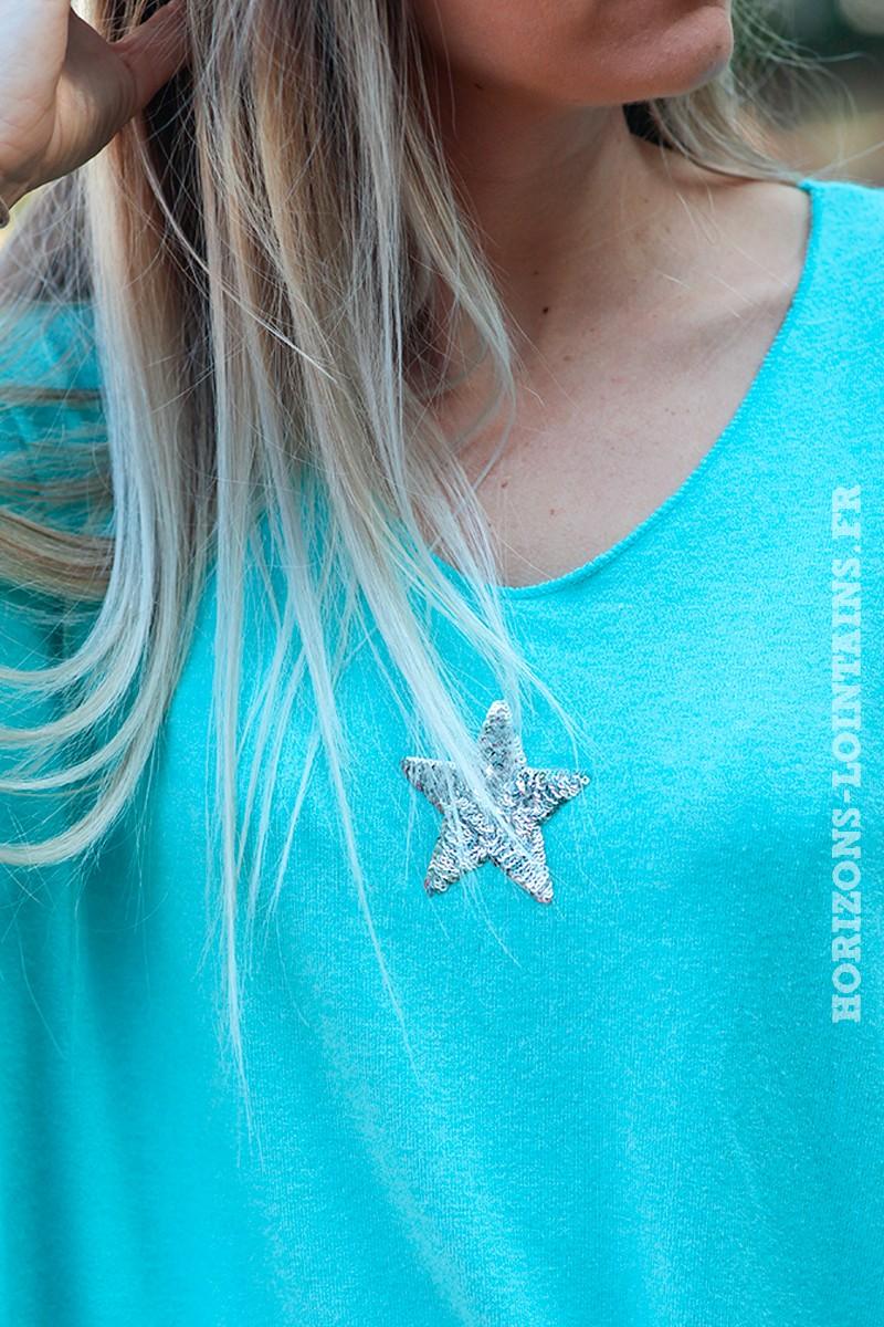 Pull--turquoise-col-v-petite-étoile-sequins-c176