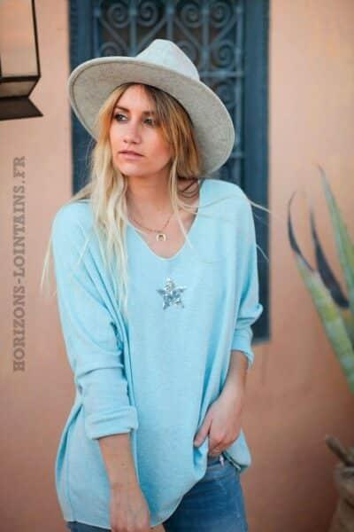 Pull-vert-eau-clair-bleu-ciel-col-v-petite-étoile-sequins-confortable-pulls-femme