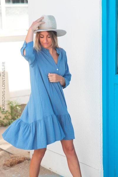 Robe bleu jean manches 34 mi coton mi lin D027 2