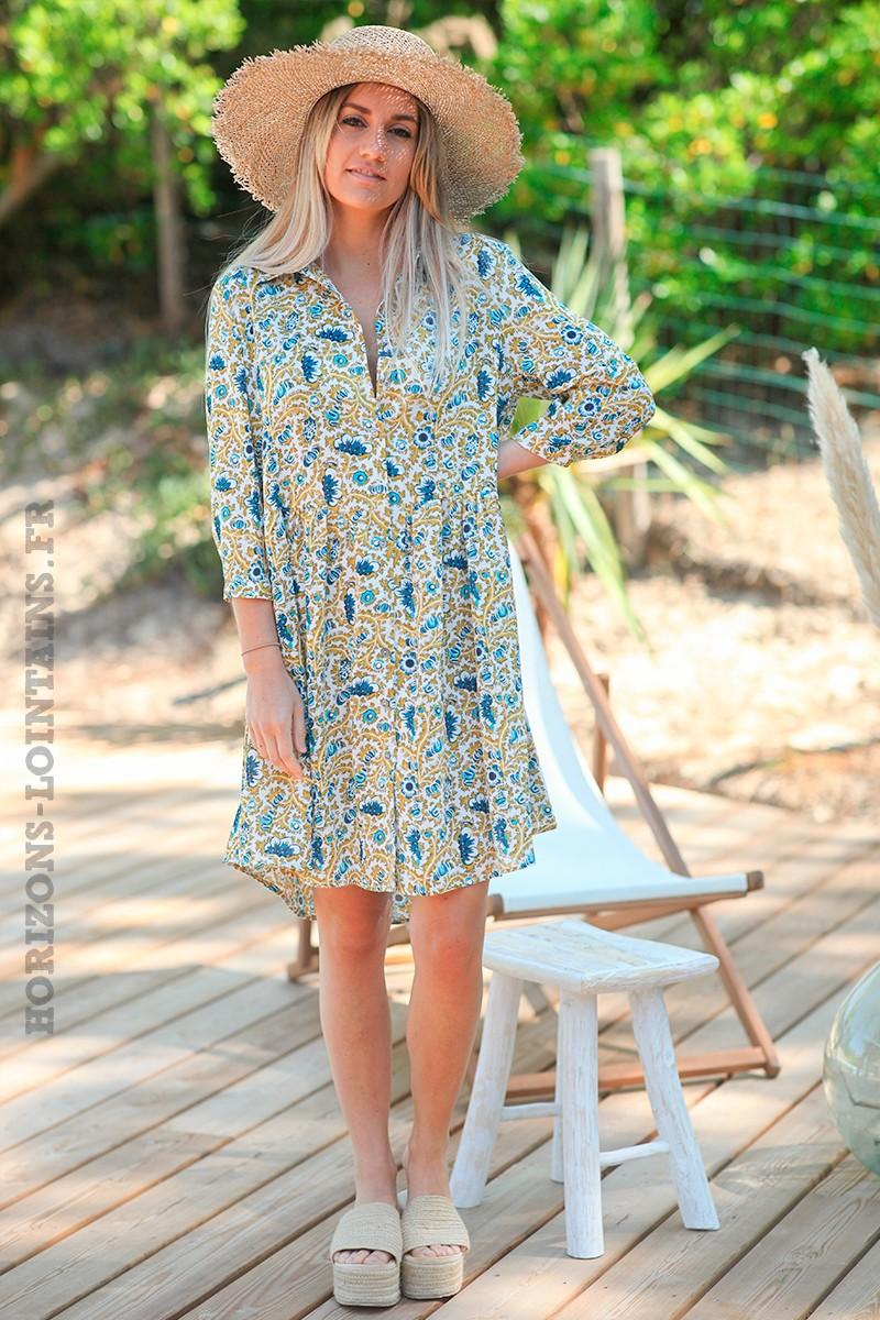 Robe chemise It Hippie, motifs jaune moutarde