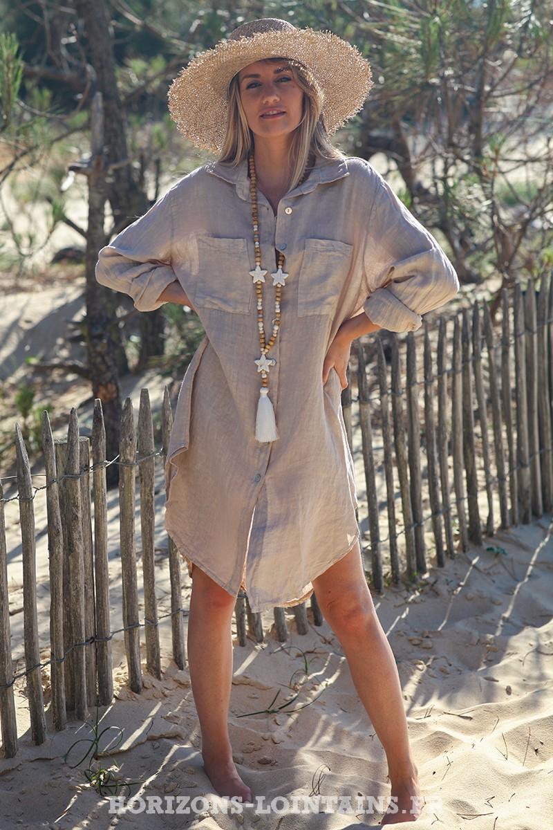 Robe-chemise-beige-matière-100%-lin-vêtement-femme-look-bohème-hippie-D041