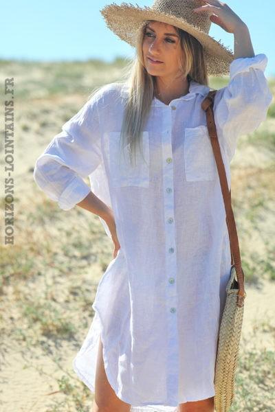 Robe-chemise-blanche-matière-100%-lin-vêtement-femme-look-bohème-hippie-D041