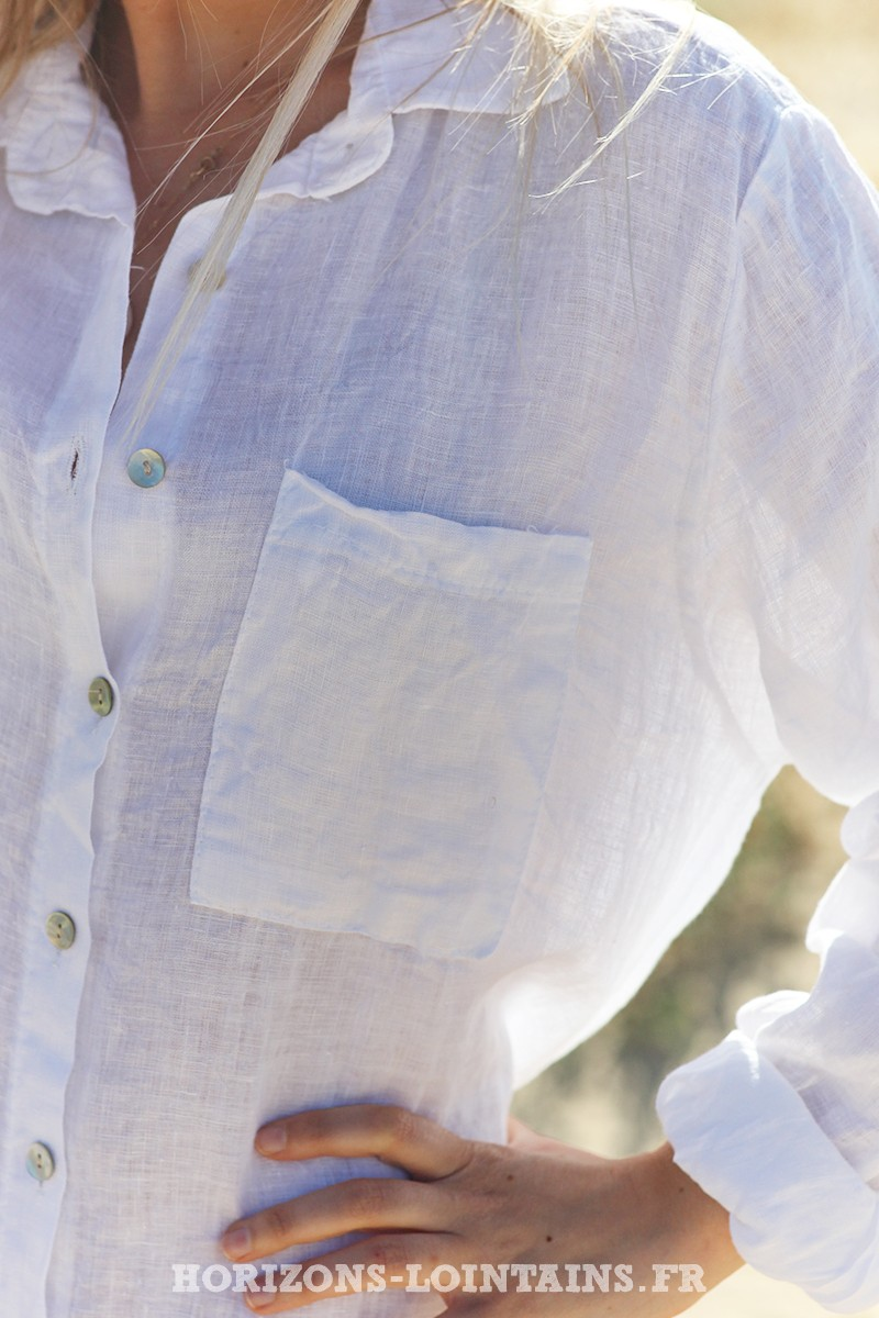 Robe Chemise Blanche 100 Lin Horizons Lointains