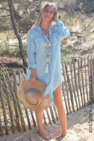 Robe-chemise-bleu-ciel-matière-100%-lin-vêtement-femme-look-bohème-hippie-D041