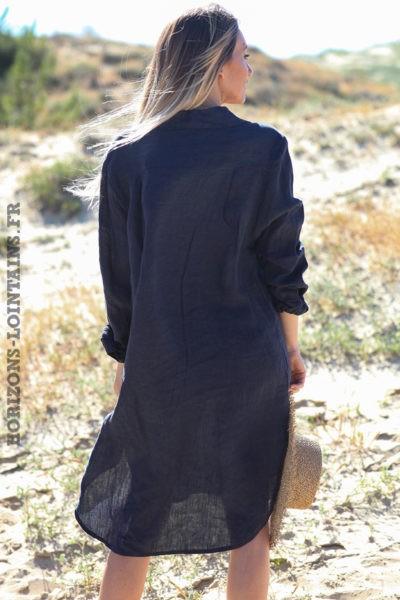 Robe-chemise-bleu-marine-matière-100%-lin-vêtement-femme-look-bohème-hippie-D041