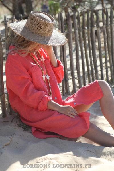 Robe-chemise-corail-rose-matière-100%-lin-vêtement-femme-look-bohème-hippie-D041