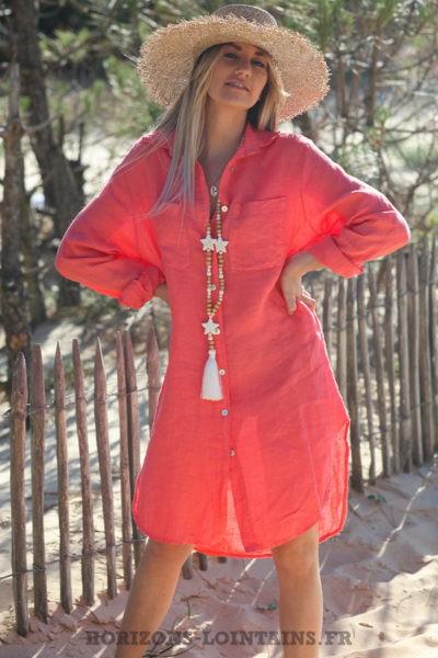 Robe-chemise-corail-rose-matière-100%-lin-vêtement-femme-look-bohème-hippie-D041-08