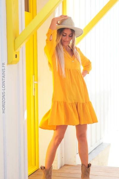Robe jaune manches 34 mi coton mi lin D027 (2)