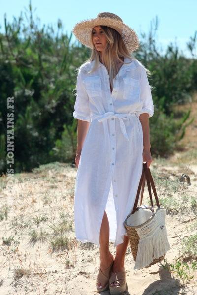 Robe longue blanche boutonnée 100% lin
