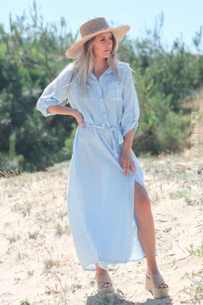 Robe longue bleu ciel boutonnée 100% lin