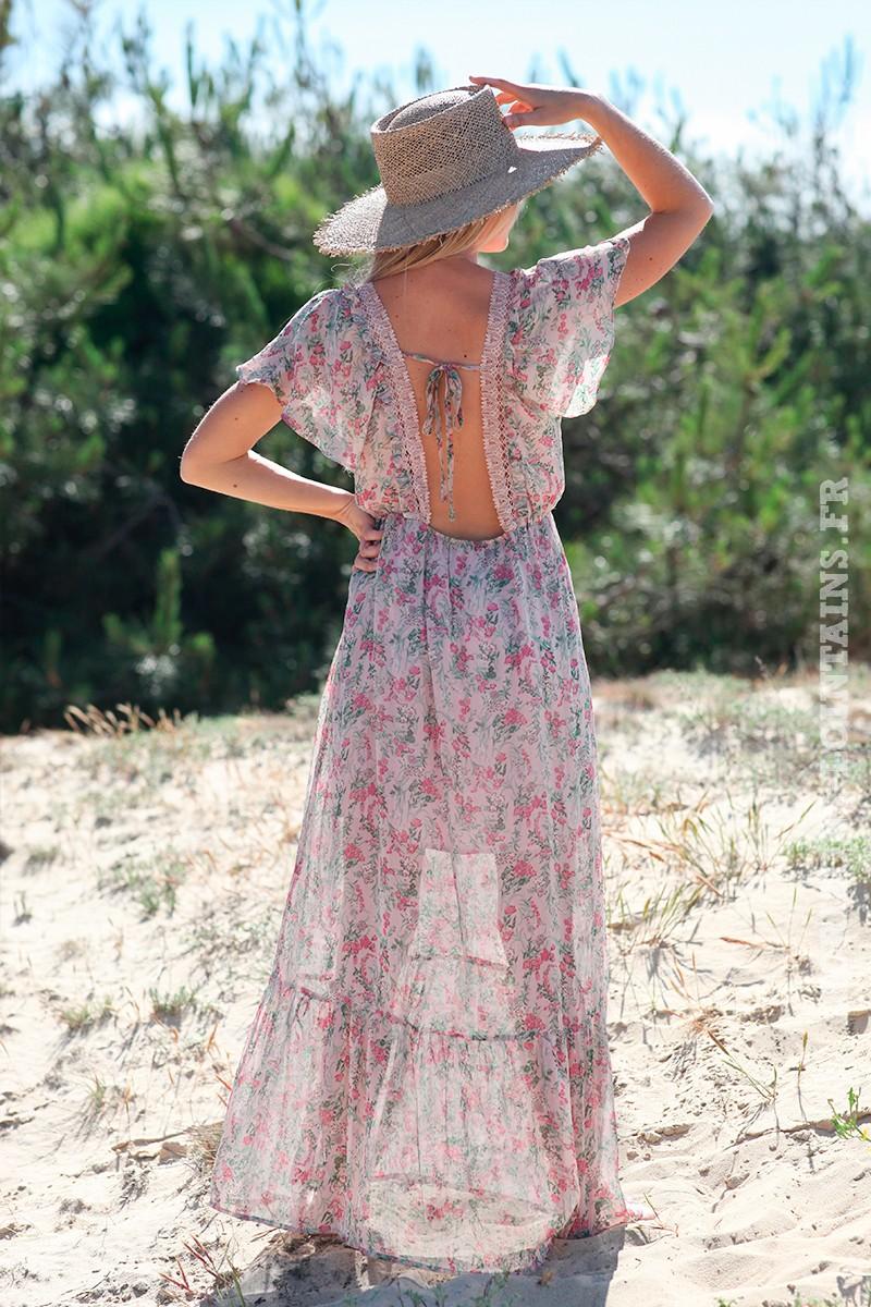 Robe longue fleuri rose dos nu dentelle