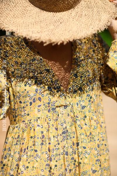Robe longue jaune manches longues petits motifs cachemire