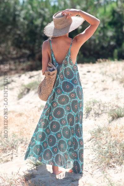 Robe-longue-turquoise-fluide-bretelles-motif-mandalas-d51-3