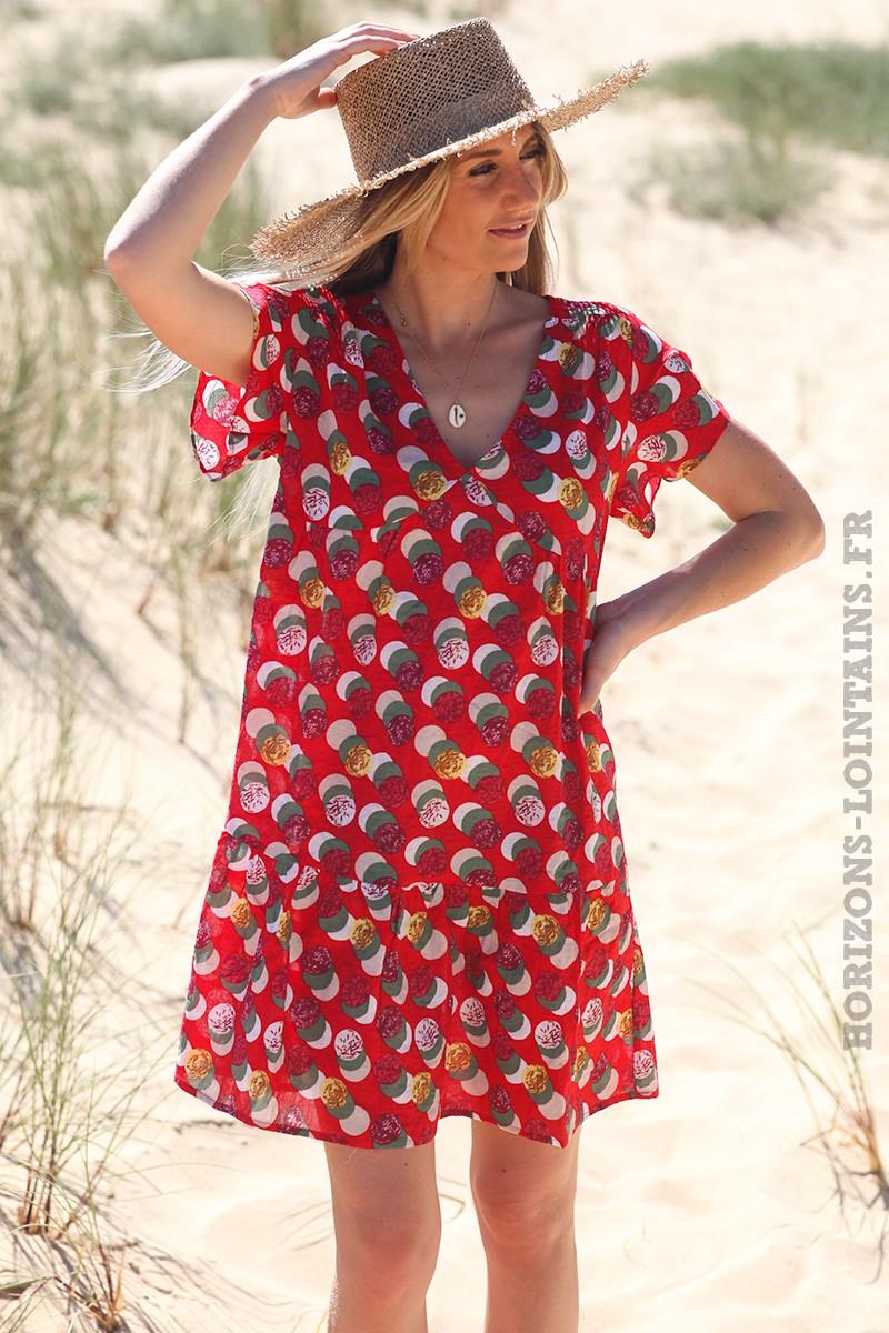 Robe-rouge-volant-avec-ronds-colorés-robes-bohème-hippie-vêtements-femmes-D032