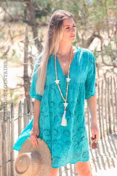 Robe-turquoise-manches-courtes-col-V-pompon-broderie-anglaise-fleurs-d45-1
