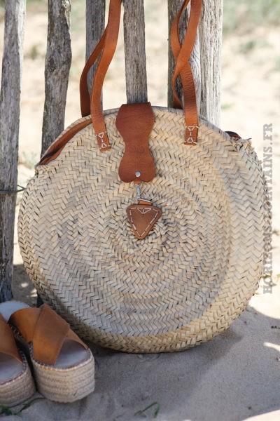 Sac panier rond artisanat fermeture camel d05 2 9