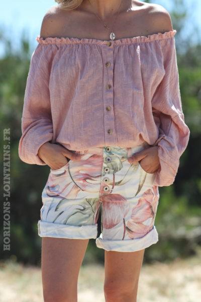 Short-en-toile-imprimé-tropical-vêtements-femme-horizons-lointains-D028