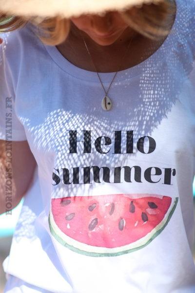 T-shirt blanc en coton bio, Hello Summer