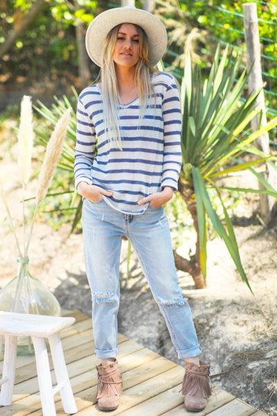 Top écru en lin mélangé avec rayures bleu jean