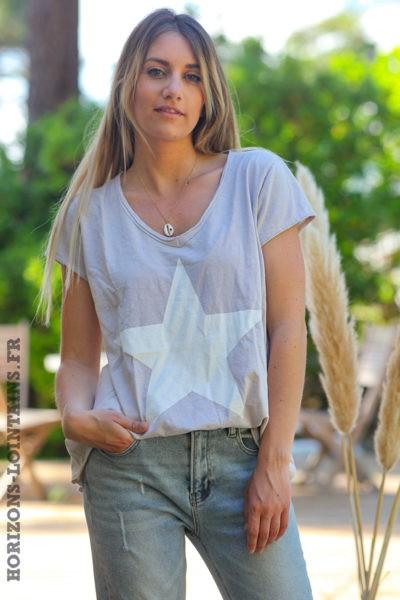 Tshirt-beige-manches-courtes-avec-étoile-blanche-teeshirt-femme-D103