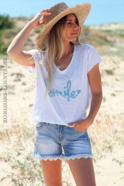 Tshirt-blanc-en-coton-manches-courtes-smile-bleu-ciel-d60 8