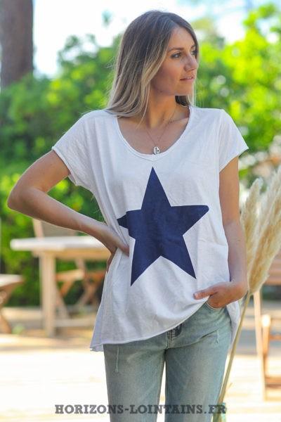 Tshirt-blanc-manches-courtes-avec-étoile-bleue-teeshirt-femme-D103
