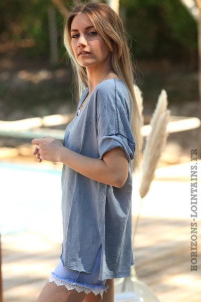 Tshirt-bleu-jean-foncé-délavé-poisson-sequins-argentés-teeshirt-femme-D094