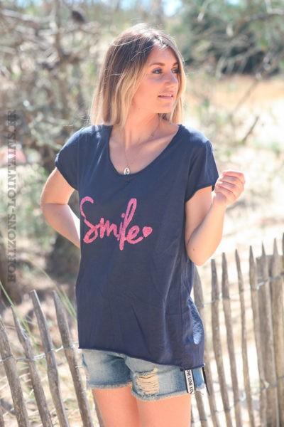 Tshirt-bleu-marine-en-coton-manches-courtes-smile-rose-d60
