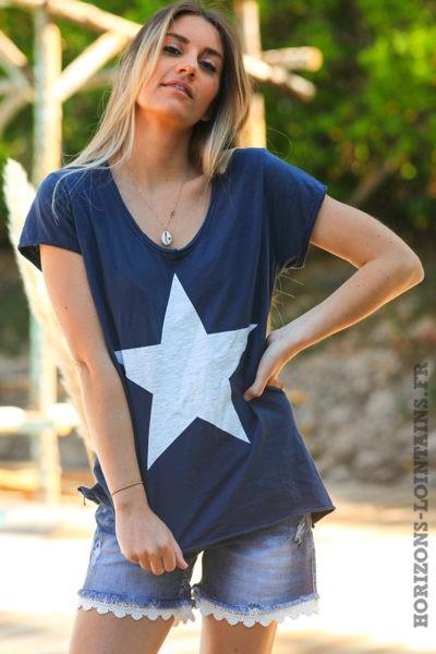 Tshirt-bleu-marine-manches-courtes-avec-étoile-blanche-teeshirt-femme-D103-02