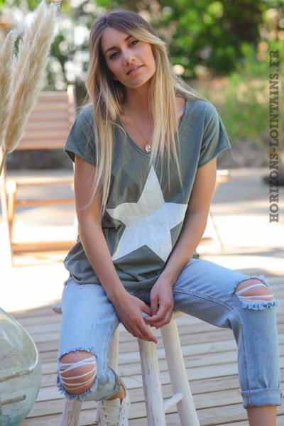 Tshirt-kaki-manches-courtes-avec-étoile-blanche-teeshirt-femme-D103