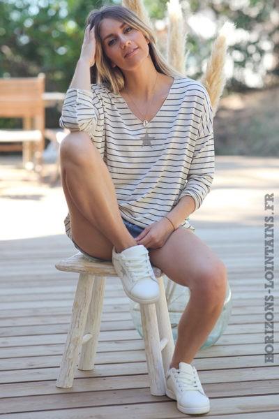 Tshirt-manches-longues-marinière-bleu-marine-etoile-argentée-teeshirt-femme-D101