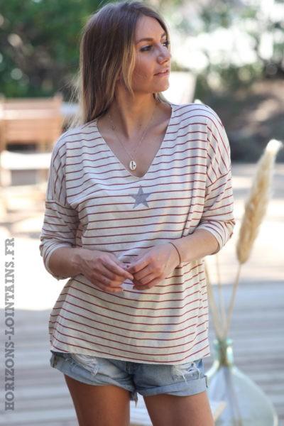Tshirt-manches-longues-marinière-rouge-etoile-argentée-teeshirt-femme-D101