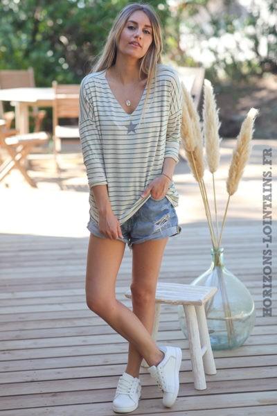 Tshirt-manches-longues-marinière-verte-etoile-argentée-teeshirt-femme-D101