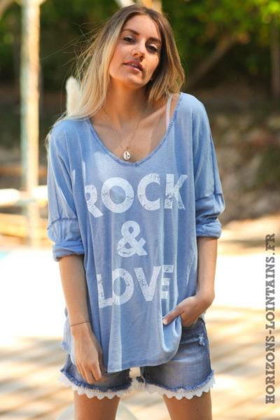 Tshirt-rock-and-love-bleu-jean-clair-délavé-teeshirt-manches-longues-message-D097
