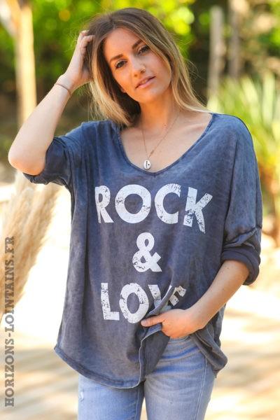 Tshirt-rock-and-love-bleu-jean-foncé-délavé-teeshirt-manches-longues-message-D097