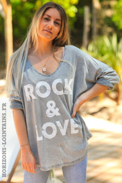 Tshirt-rock-and-love-gris-délavé-teeshirt-manches-longues-message-D097