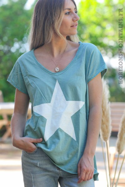 Tshirt-vert-céladon-manches-courtes-avec-étoile-blanche-teeshirt-femme-D103