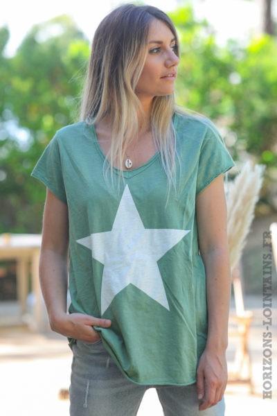 Tshirt-vert-manches-courtes-avec-étoile-blanche-teeshirt-femme-D103
