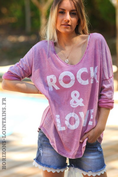 Tshirt-vieux-rose-délavé-teeshirt-manches-longues-message-rock-and-love-D097
