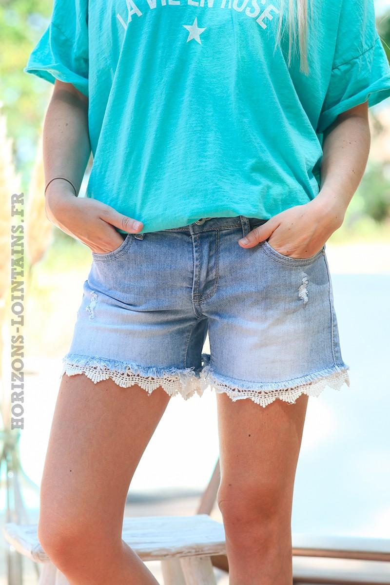 Short en jean délavage clair, détails en dentelle
