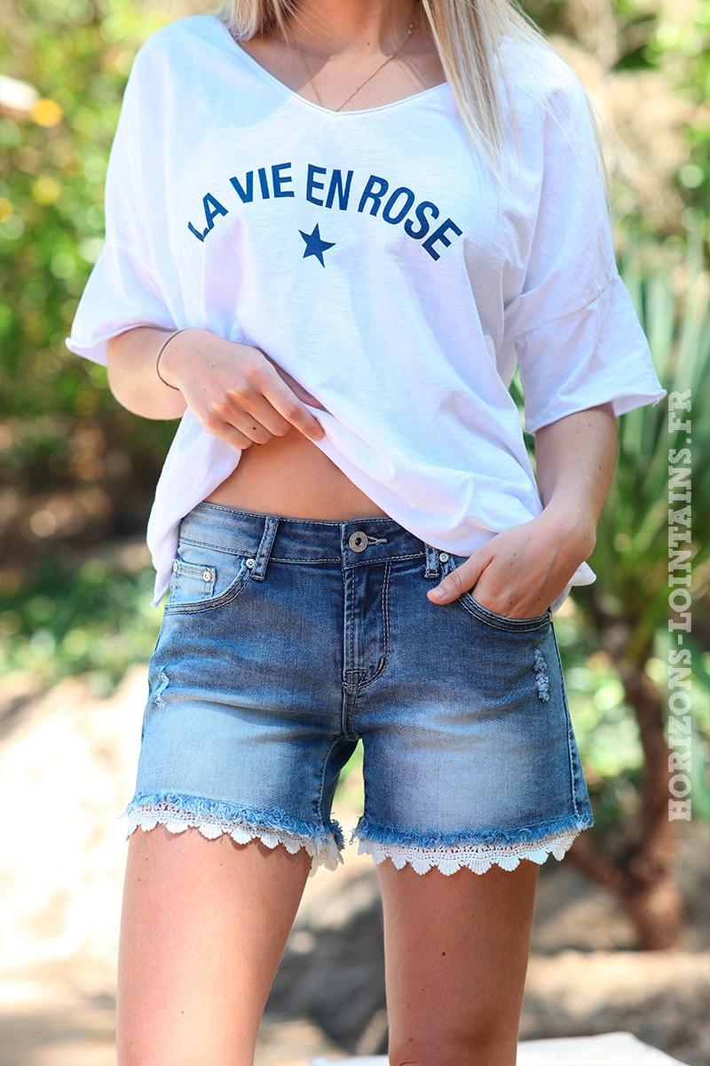 Short jean délavage moyen, dentelle
