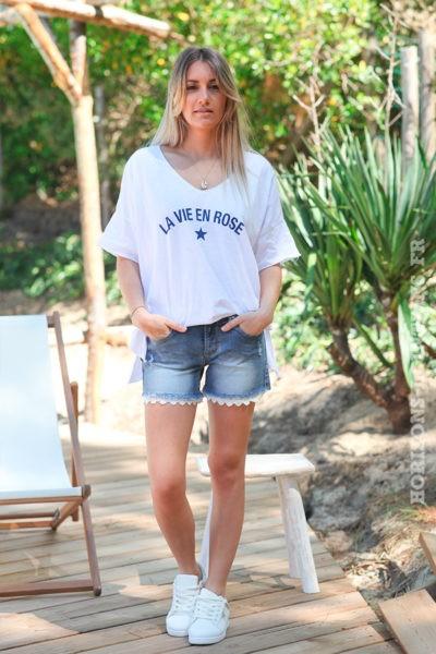 "T-shirt blanc ""La vie en rose"""