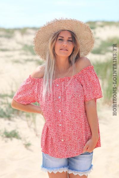 Blouse-rouge-manches-courtes-col-bardot-motifs-fleuris--D117