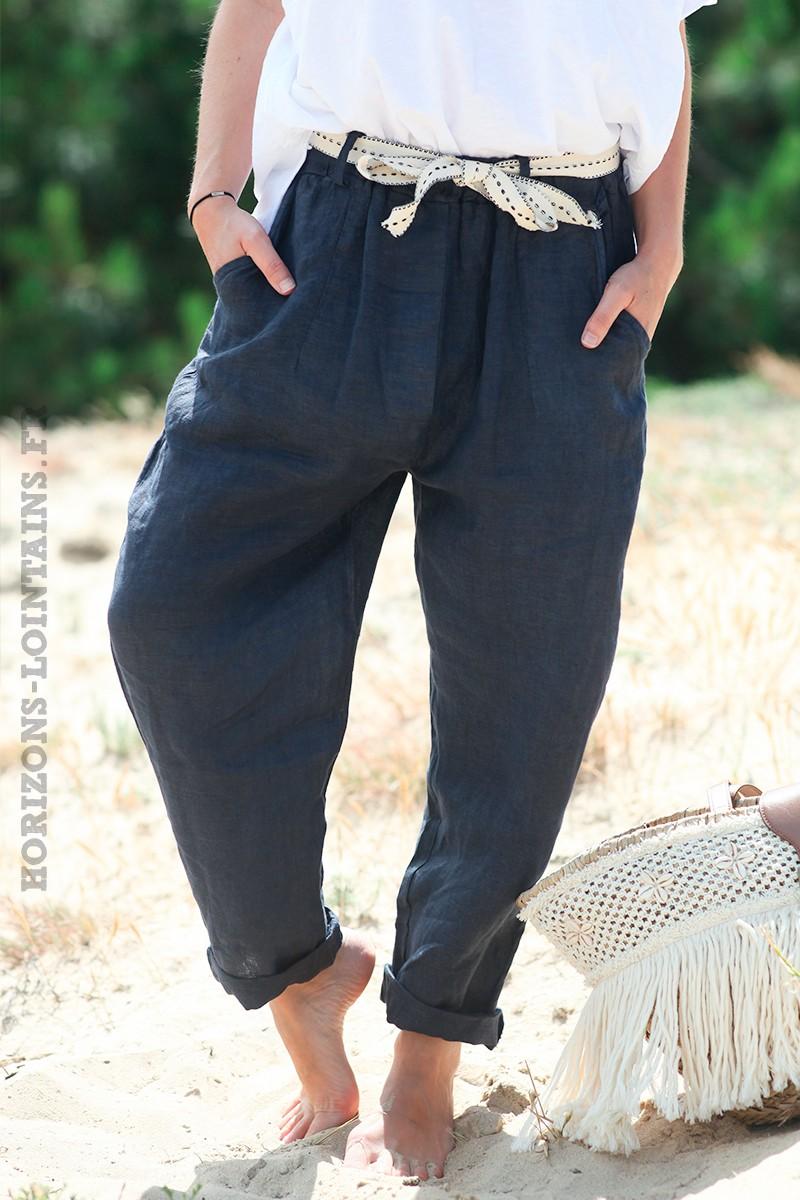 Pantalon-bleu-marine-en-lin-avec-ceinture-tissus--d37