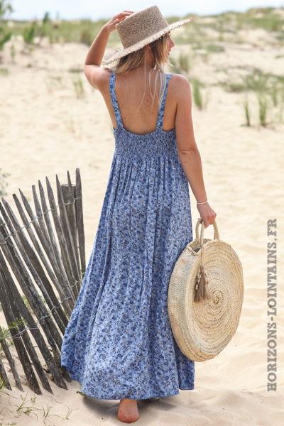 Robe-longue-bleu-jean-bretelles-imprimé-cashemire-robes-esprit-bohème-hippie-D053