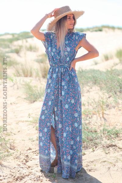 Robe-longue-bleu-jean-porte-feuille-avec-imprimé-fleuri-d52