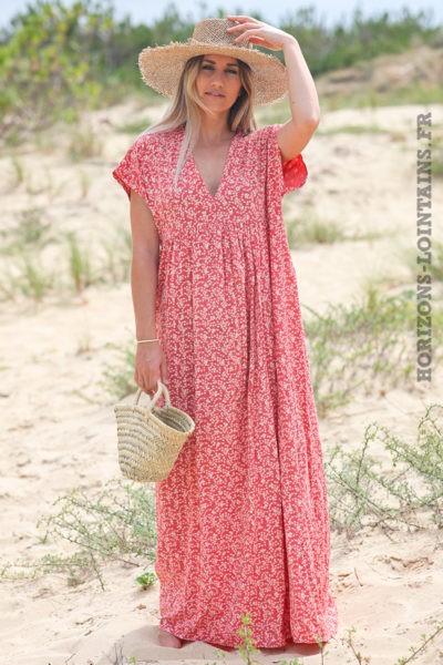 Robe-longue-bois-de-rose-fleurie-avec-losanges-dorés-robes-esprit-bohème-hippie-D064