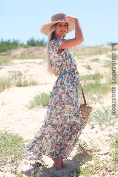 Robe-longue-cache-cœur-imprimé-fleuri-orangé-turquoise-d38
