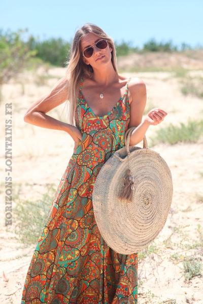 Robe-longue-orangé-jaune-fluide-bretelles-motif-mandalas-ethnique-d62
