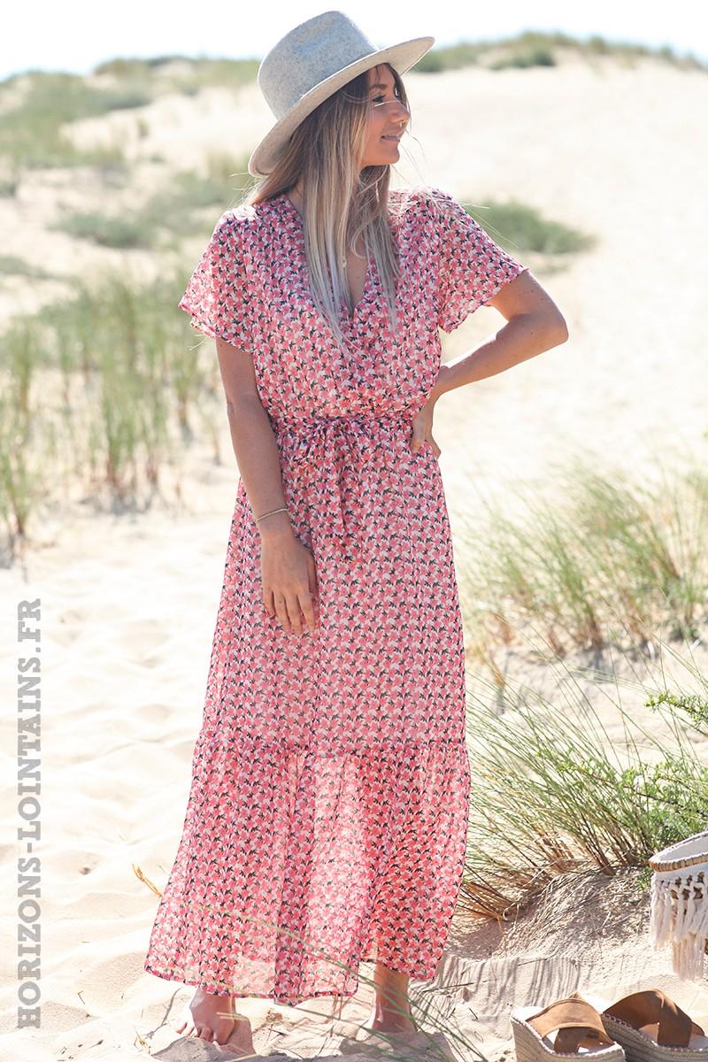 Robe Longue Rose Cache Cœur Imprime Fleurs Horizons Lointains